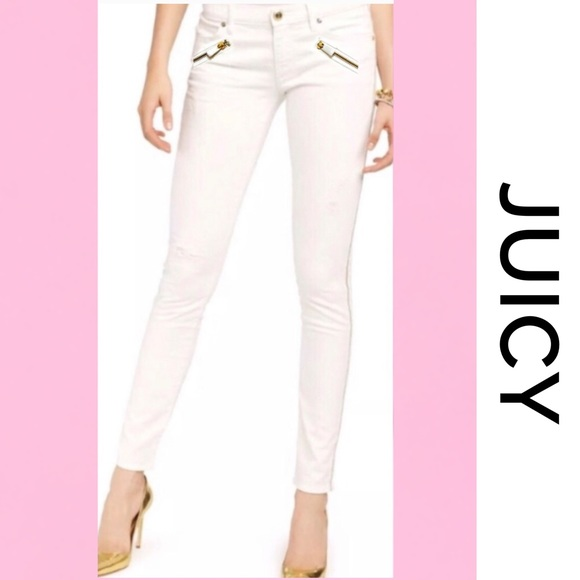 Juicy Couture Denim - JUICY COUTURE Off-White Skinny Jeans 26